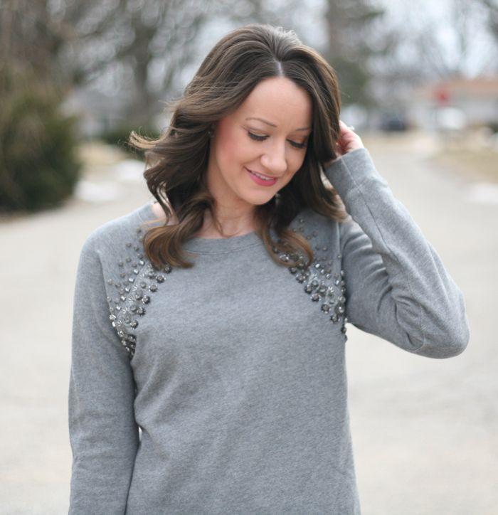 embellished gray J.Crew sweatshirt - www.lovelucygirl.com