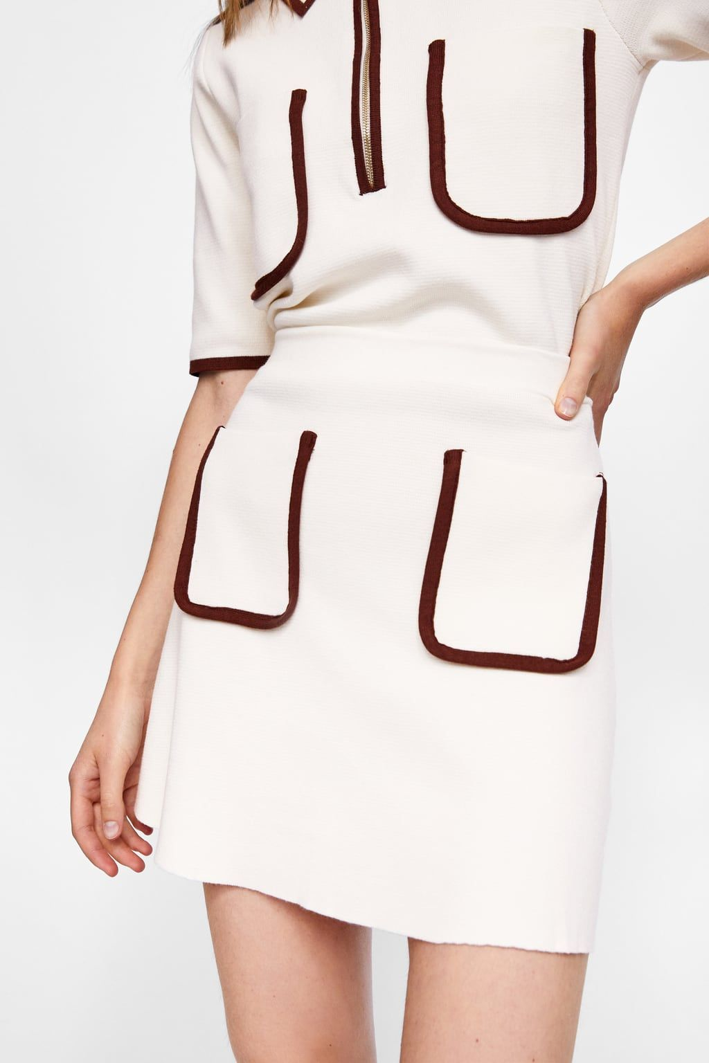 3bf5e73f46 Image 2 of SKIRT WITH CONTRASTING PIPING from Zara   Woman Outfit ...