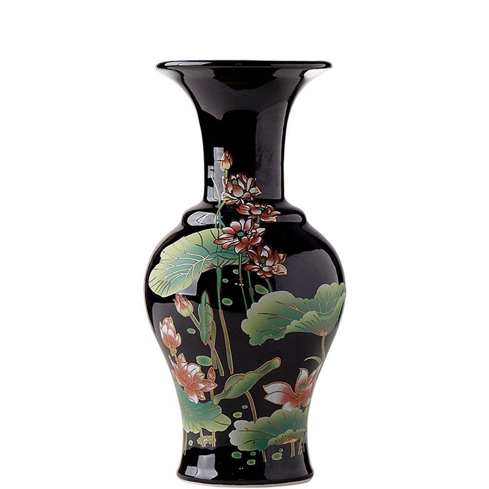 BLACK FLOWER VASE China Jingdezhen Ceramic Porcelain Flower Vase Oriental  Style Home Living Room Decoration V18