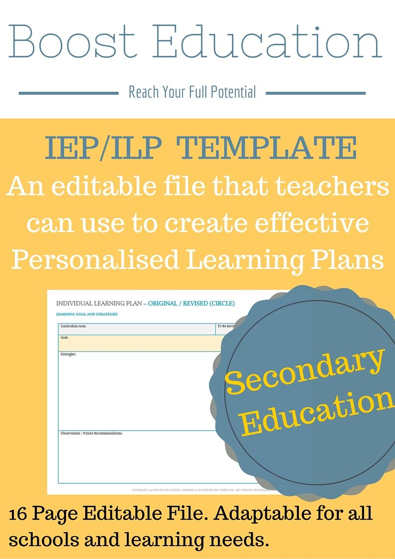 Amazing Individual Learning Program Template that can be used to ...
