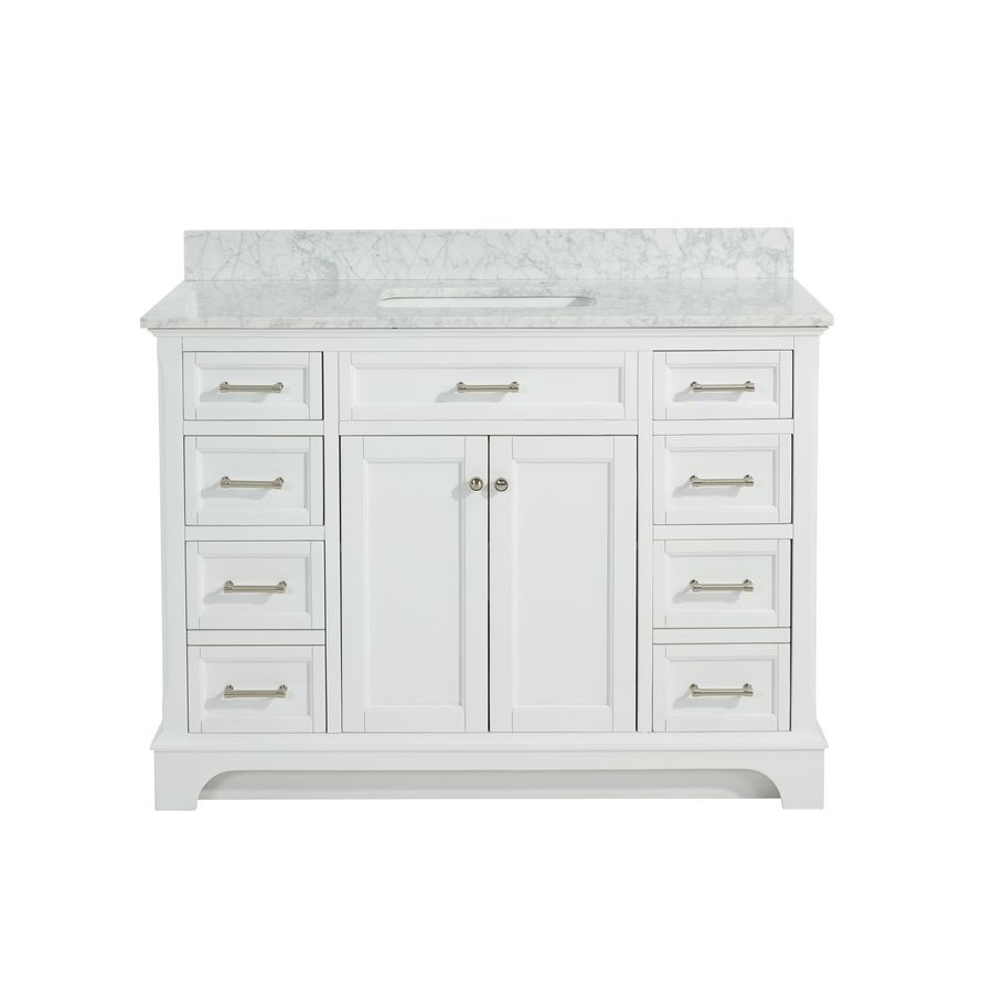 Sets bathroom vanity ari kitchen second - Allen Roth Roveland White Undermount Single Sink Birch Poplar Bathroom Vanity With Natural Marble