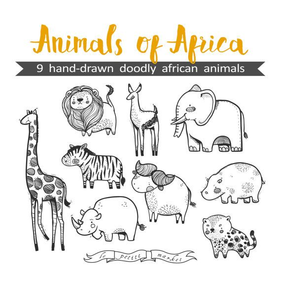 Hand Drawn Cute Animals Of Africa Clipart Illustration Printable Coloring Sheet Animal Sticker Sheet Digital Download African Fauna How To Draw Hands Animal Drawings Africa Drawing