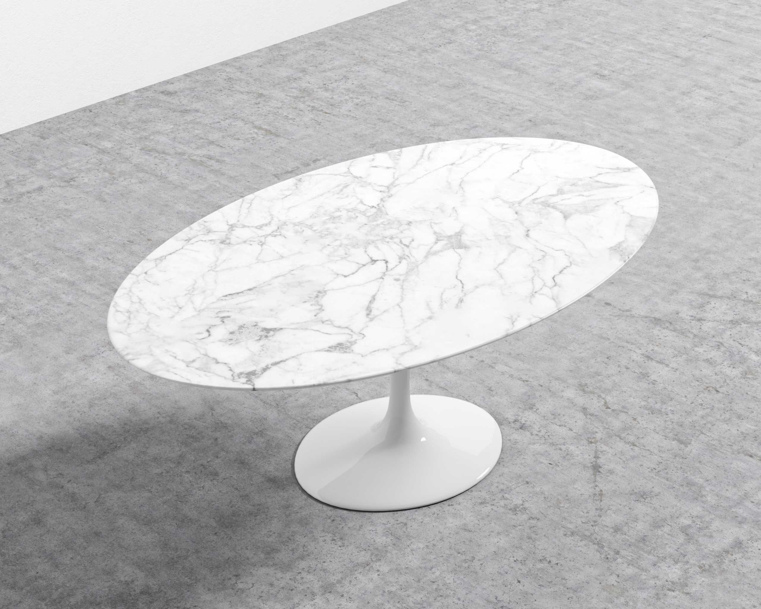 Tulip Table Oval Carrara Tulip Table Marble Top Dining Table