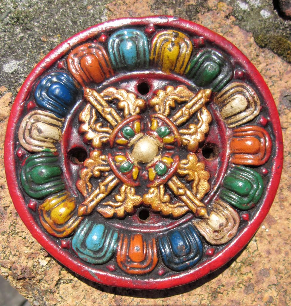 Hand Crafted Hand Painted Clay Double Dorje Symbol 3 Tibetan