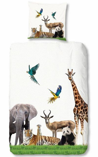 Kinderbettwäsche »Jungle«, , mit vielen tollen Tieren