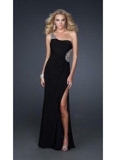 Sheath One-Shoulder Chiffon and Sequins Long Prom Dress