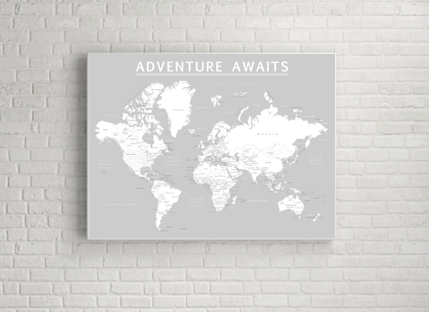 World push pin map print only travel map map poster travel world push pin map print only travel map map poster travel board grey color wedding anniversary gift world 009 by anadventureawaits on etsy gumiabroncs Choice Image