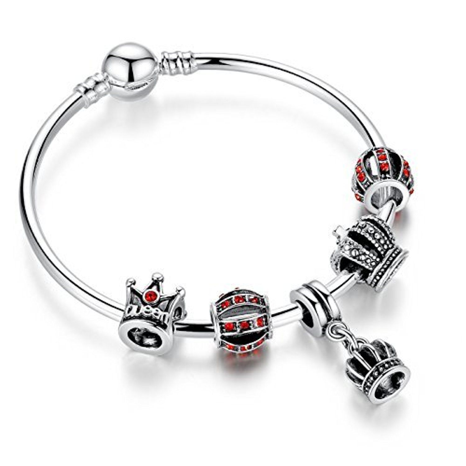 Presentski Charm Bangle with Queen Crown and Red Cubic Zircon and ...