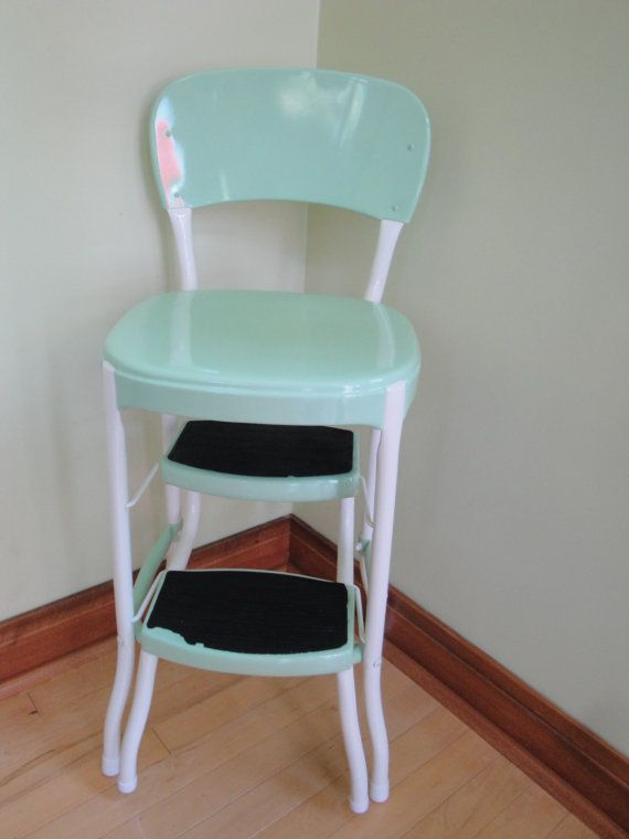 Vintage Restored Cosco Kitchen Step Stool Retro Mint Green