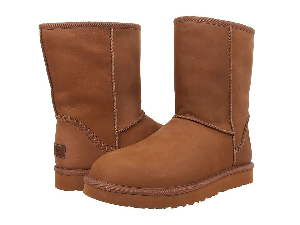 UGG UGG - CLASSIC SHORT DECO (CHESTNUT LEATHER) MEN'S PULL-ON BOOTS.