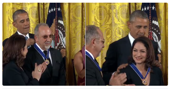 "Gloria Estefan and her husband Emilio Estefan getting the ironically-titled ""Medal of Freedom"". Gloria Estefan stated she was recruited by the CIA.  She worked at Miami Customs, which Cathy O'Brien named as being complicit in Iran/Contra-era narcotics trafficking. Gloria is a likely mind control slave, almost certainly a CIA asset, and probably both CIA narcos. The Estefans are now worth around $300 million, according to Wikipedia."
