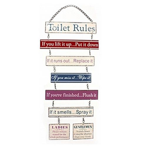Details About Toilet Rules Hanging Plaque Metal Bathroom Sign Funny Message Door Wall Loo New