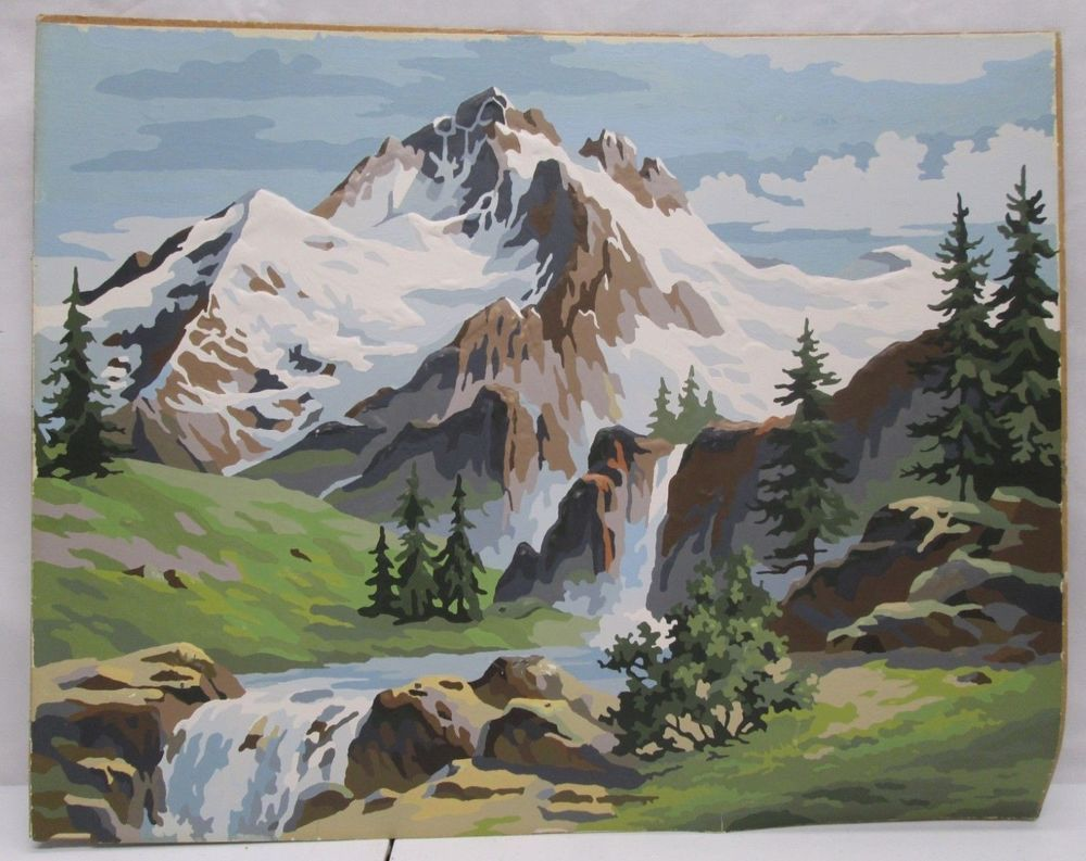 Vintage Paint By Number Pbn Painting Mountain Scene Waterfall Forest 20x16 Art Vintage Painting Painting Paint By Number