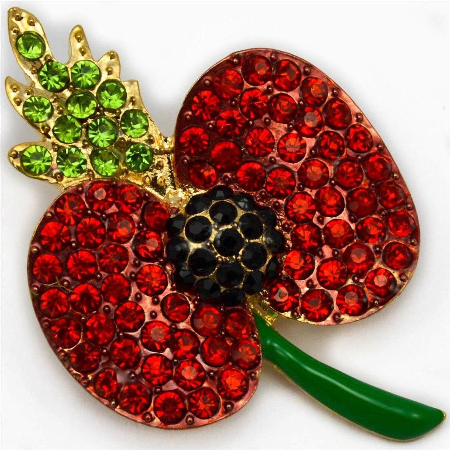 AGE designs NEW POPPY BROOCH BRIGHT RED / BLACK / GREEN RHINESTONE DIAMANTE CRYSTALS GOLD COLOUR FLOWER PIN BROACH – ENAMEL STALK