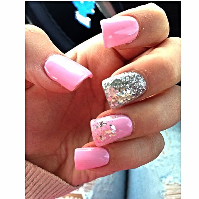 Pink sparkly and silver nails design nails pinterest pink sparkly and silver nails design prinsesfo Gallery