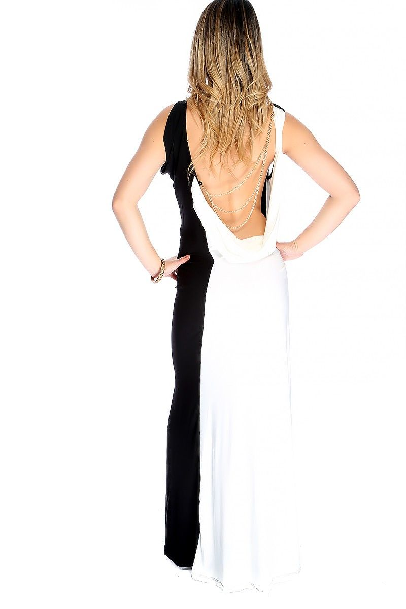 b467ef578b This sexy two tone maxi dress is perfect for your next social gathering.  The features