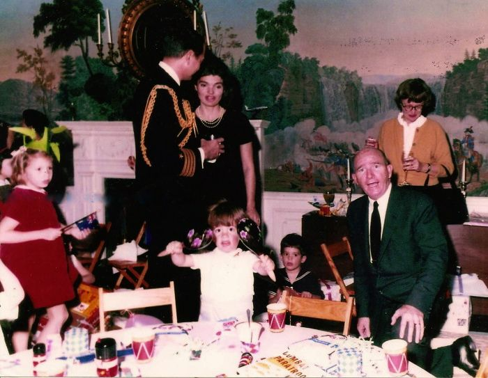 John Junior's third birthday party. Jackie Kennedy and Dave Powers. Undated/Uncredited Image.