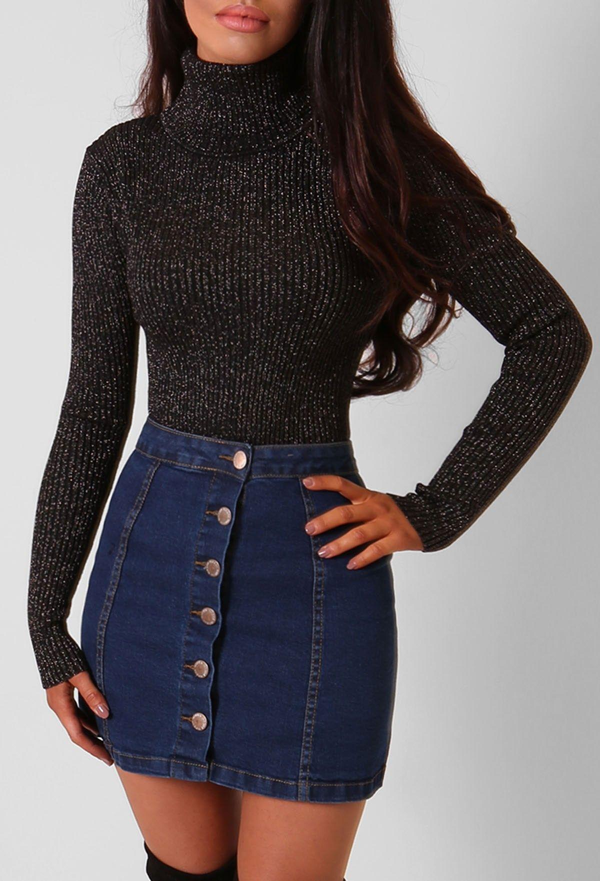 Chanelle Blue Button Up Denim Mini Skirt