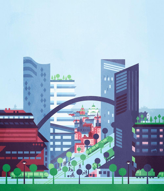 Helsinki 2050, Cover illustration by Ilja Karsikas for Suomen Kuvalehti Magazine, 2014