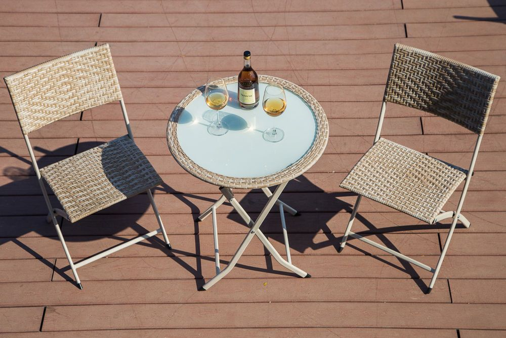 3 pieces bistro set folding wicker patio furniture small yard