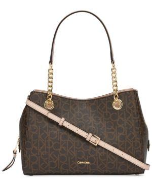Calvin Klein Marie Signature Small Satchel - Tan Beige Satchel Handbags 04f4d931f1797