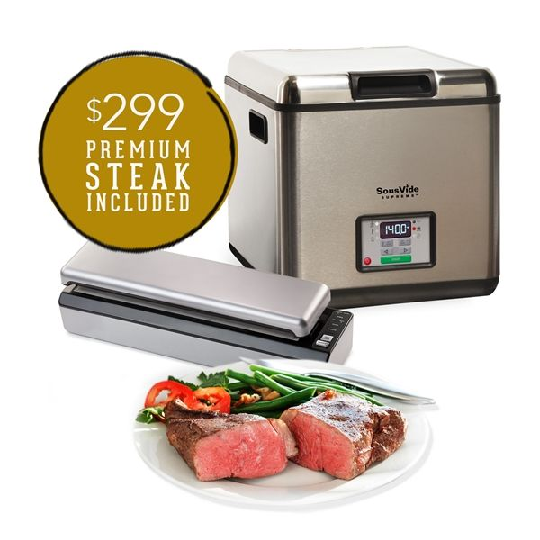 We've teamed up with Chicago Steak Company to bring you a SousVide Supreme bundle that includes a variety of premium wet-aged steaks! A perfect summer gift for your new grad or Dad, too. $569