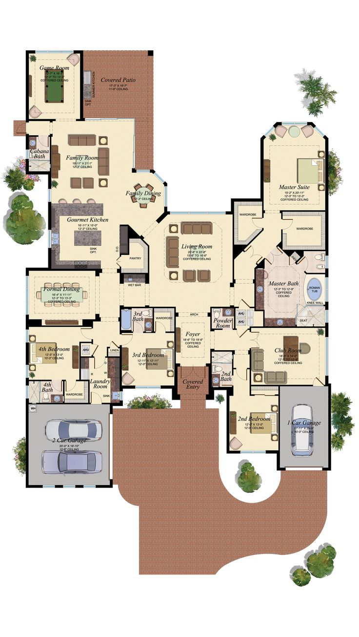 4 Bedroom 4 Bathroom Game Room Floor Plan Nice Unique House Plans House Layouts House Plans