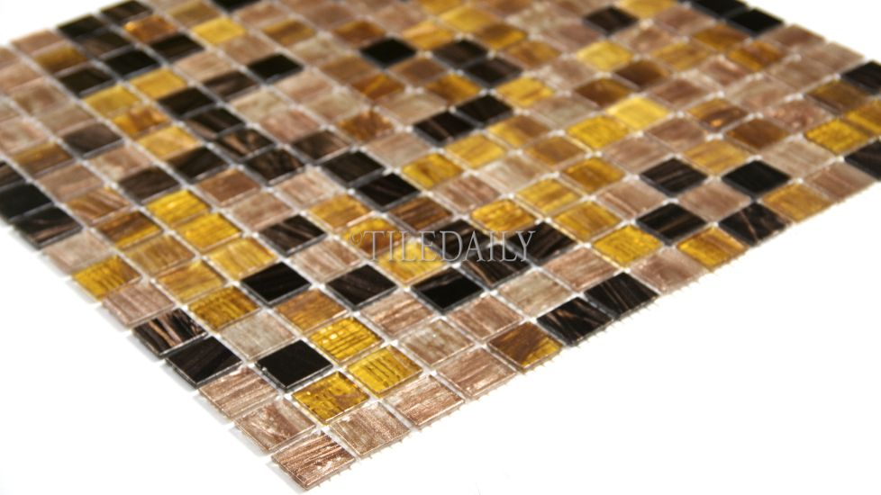 Gold Shimmer Glass Mosaic Series, Bronze Mix #glass #mosaic #tile ...
