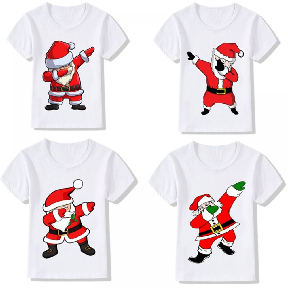 Santa Claus and Gifts Baby Tops T Shirt Unisex Cute Merry Christmas Cotton Baby Toddler Short Sleeve Tees
