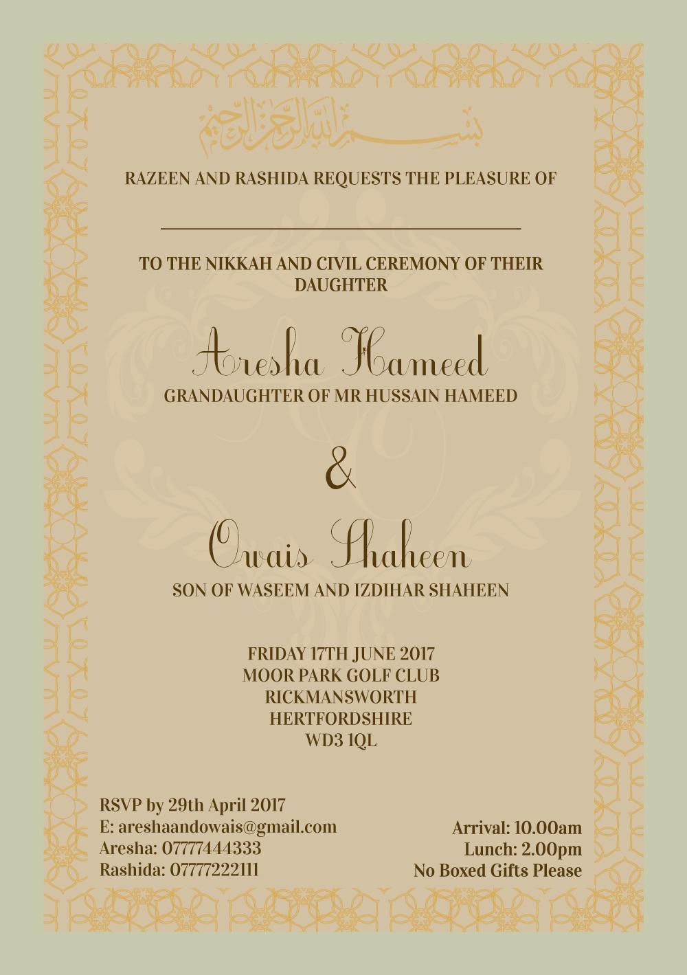 Pakistani Wedding Invites