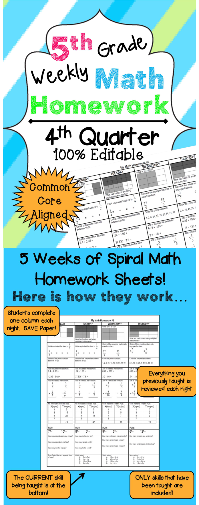 5th Grade Math Review | Homework or Morning Work | 4th Quarter | 5th ...