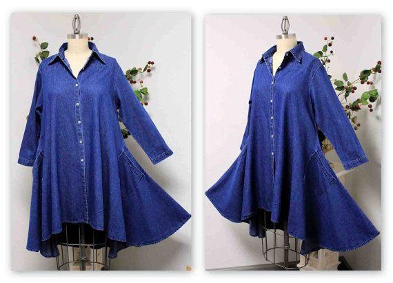 aa86e8095ec Denim Boho Country Western all Cotton Designer Hi Lo Denim Plus Size and  Regular size shirt