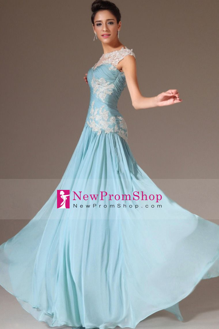 2014 Prom Dresses Bateaue a-line With ruffles court train ...