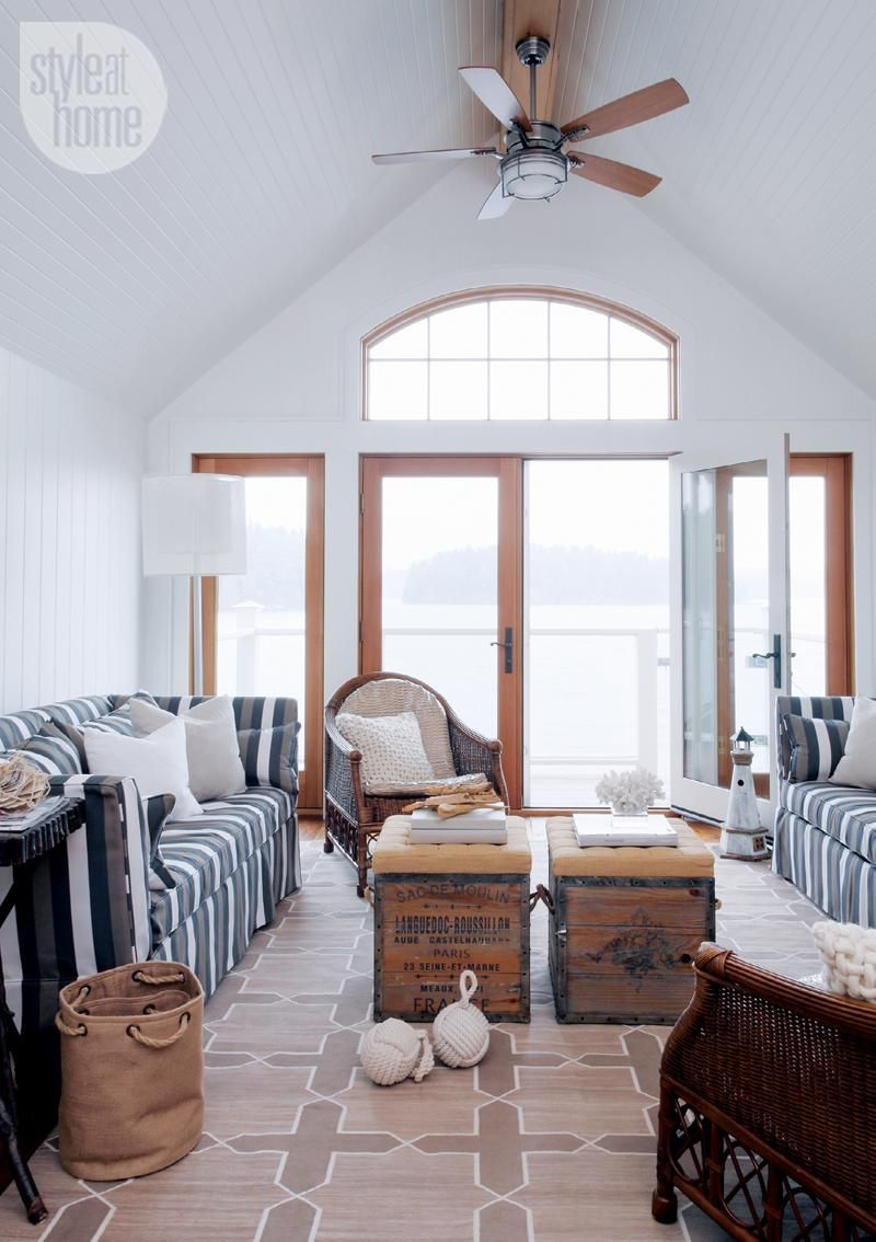 House tour: Nautical boathouse | Cottage living rooms, Robins and ...