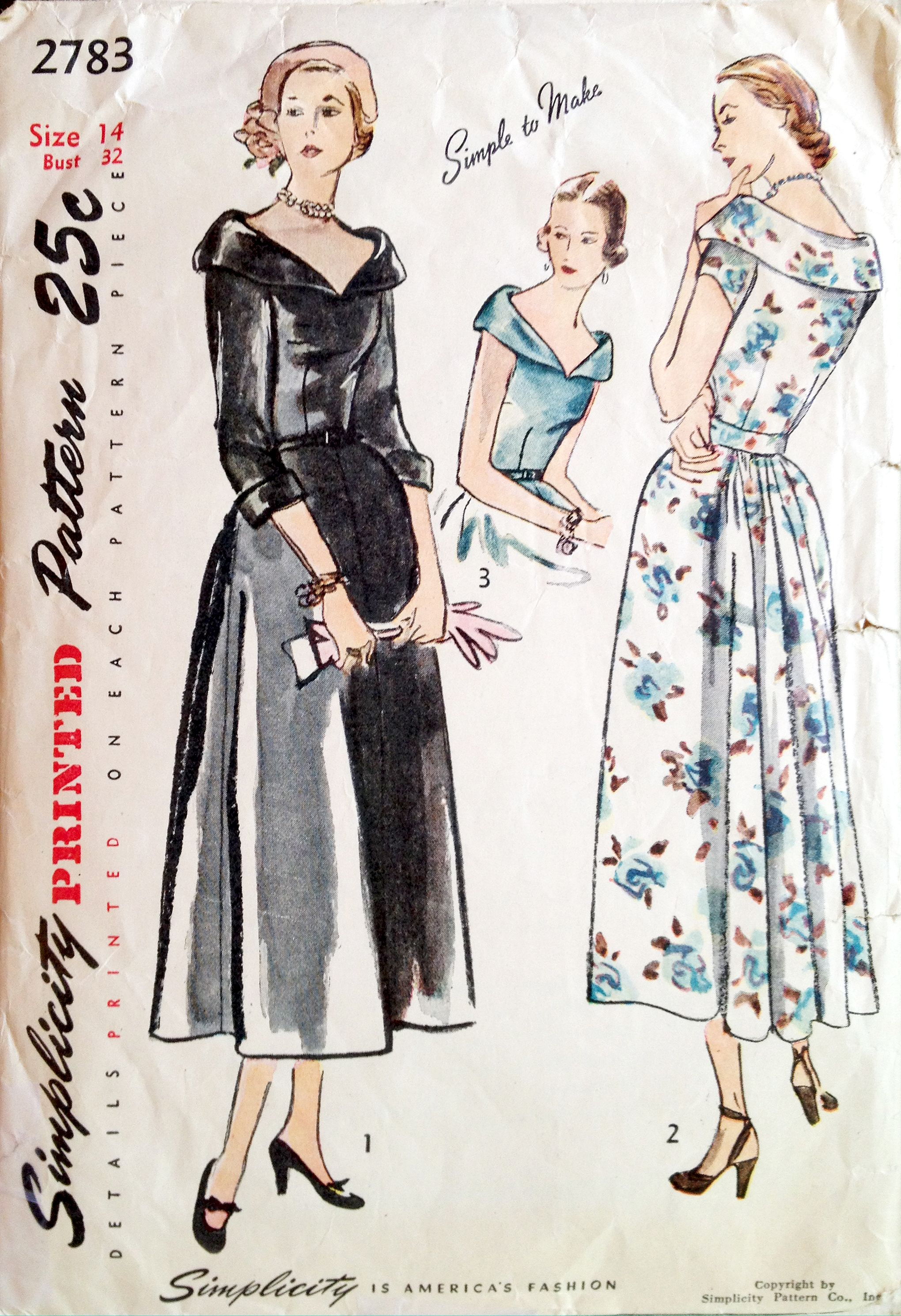 61168661eb Simplicity 2783 (1949) 40s 50s new look vintage fashion style dinner dress  black white floral portrait collar long ballet length illustration print ad