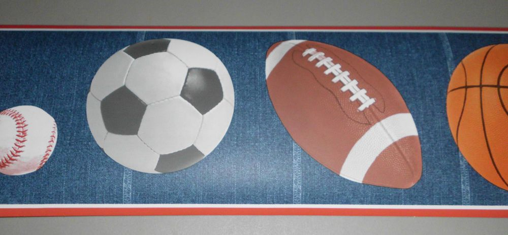 Basketballs Football Soccer Baseball Wallpaper Border 15
