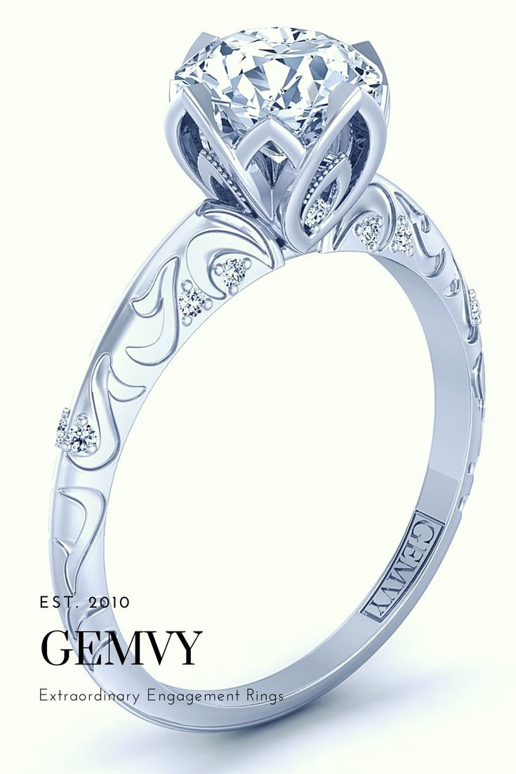 Gemvy baroque engraved vintage style engagement ring