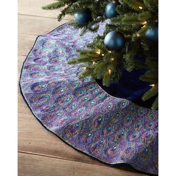 Peacock Christmas Tree Skirt ❤ liked on Polyvore featuring home