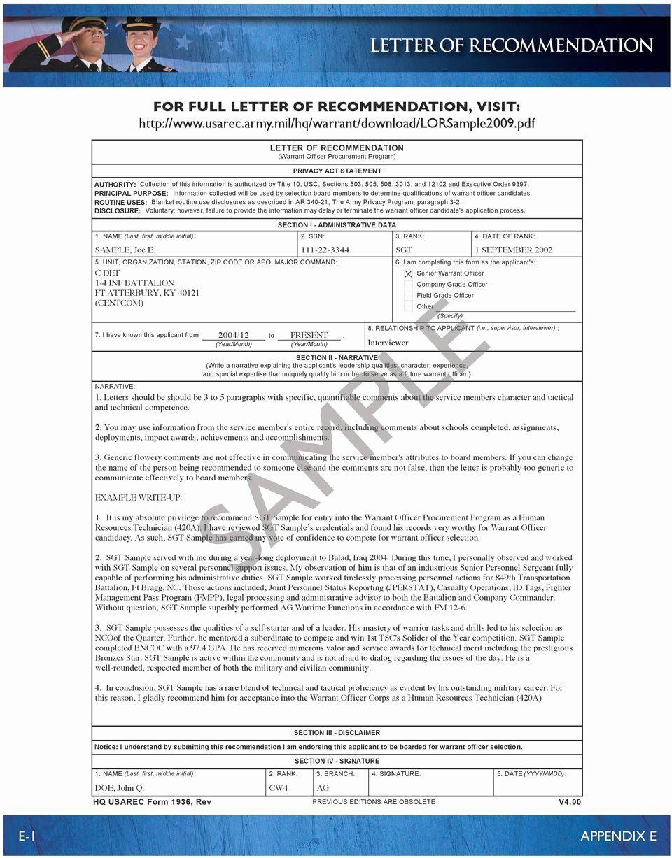 30 Warrant Officer Letter Of Recommendation In 2020 Letter Of