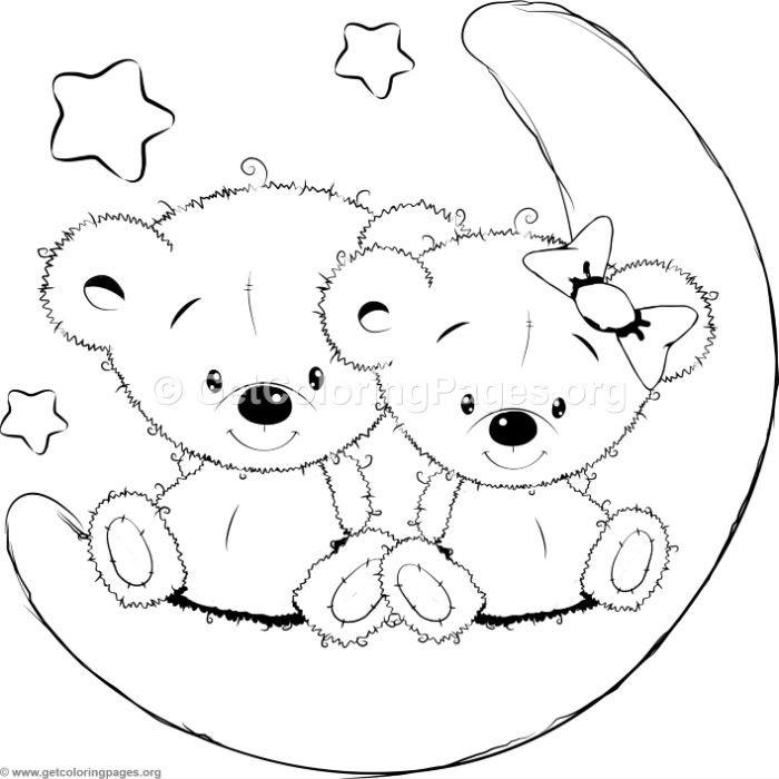 Cartoon Animal Romantic Bears Couple in Love and Stars ...