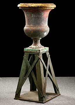 Inspiration For The Base   French Antique Cast Iron Urn Planter With Base