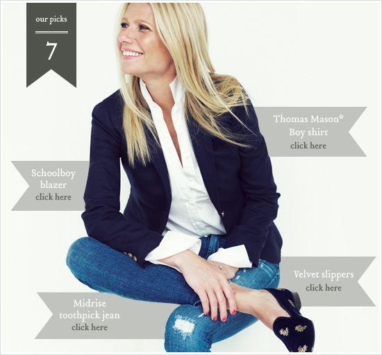 Gwyneth Paltrow for J Crew distressed jeans, navy blazer, loafers