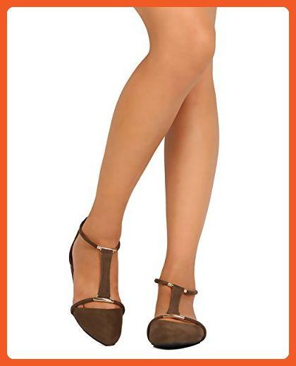 FD95 Women Faux Suede Pointy Toe D'Orsay T-Strap Flat - Khaki