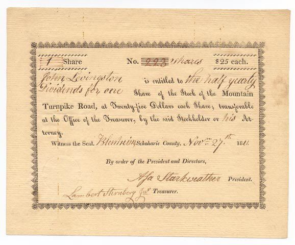 A rare look at a hand-written stock certificate from the early 1800s ...