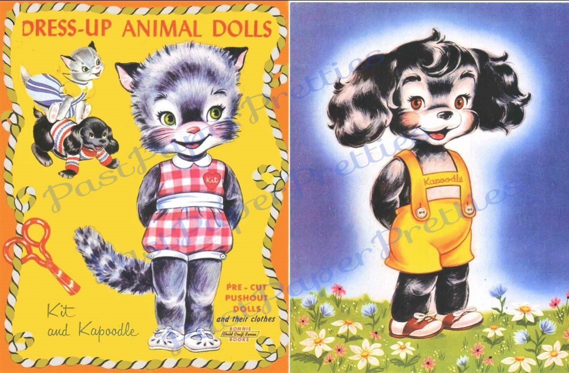 Vintage Paper Dolls Dress Up Animal Dolls Kit And Kapoodle Etsy In 2020 Vintage Paper Dolls Paper Dolls Vintage Paper