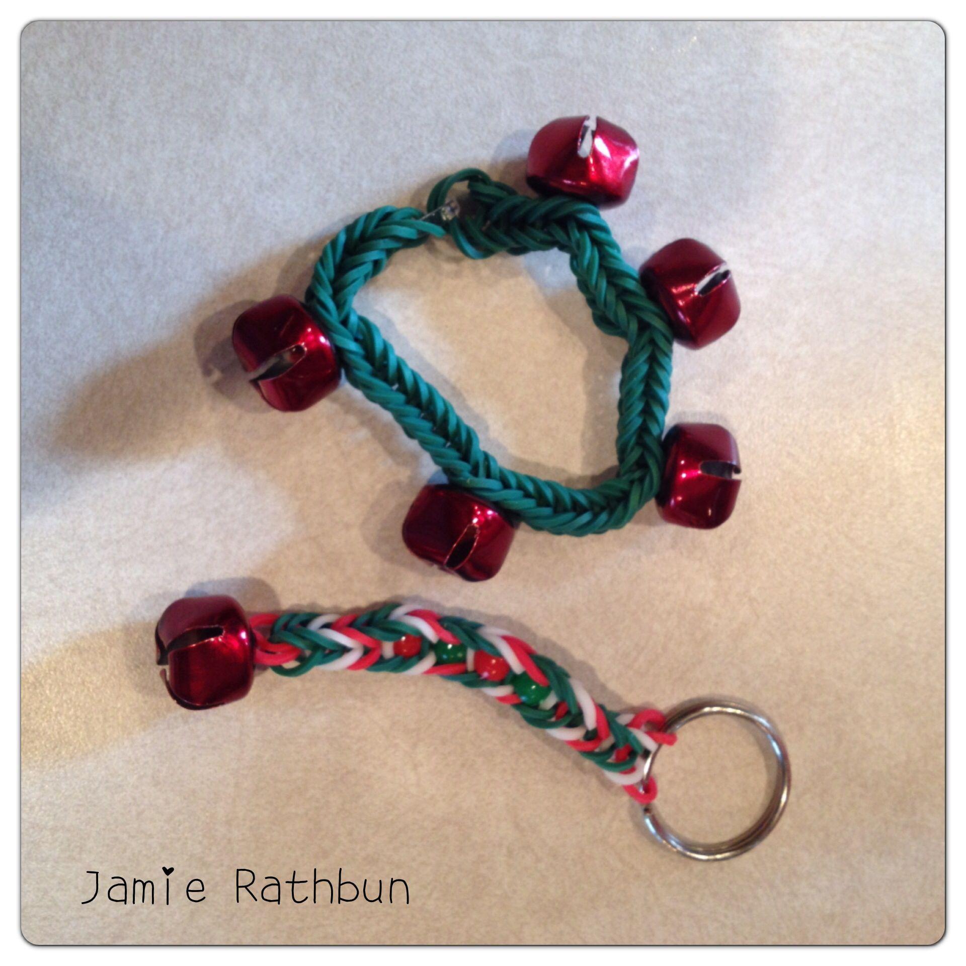 Christmas Rainbow Loom Fishtail Bracelet & Keychain With
