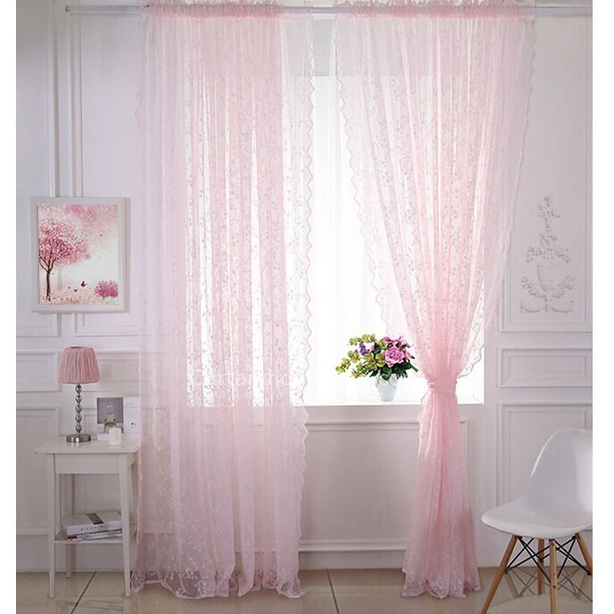 Pastoral Classic Pink Lace Curtain Embroidered Floral Sheer