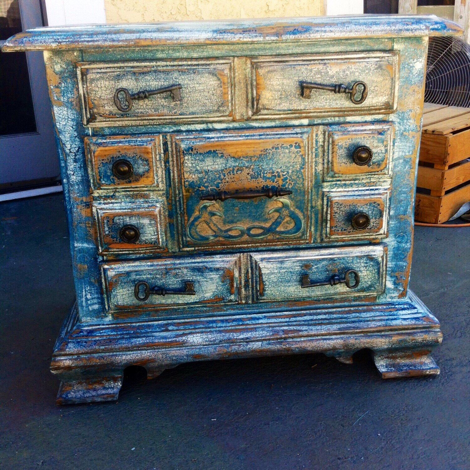 sold shabby chic nightstand country cottage distressed chippy paint blue white w copper. Black Bedroom Furniture Sets. Home Design Ideas
