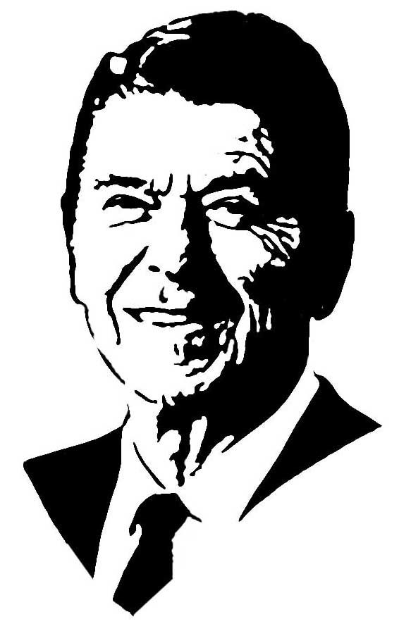 Ronald Reagan Stencil Black And White Drawing Pyrography Patterns Easy Drawings For Kids