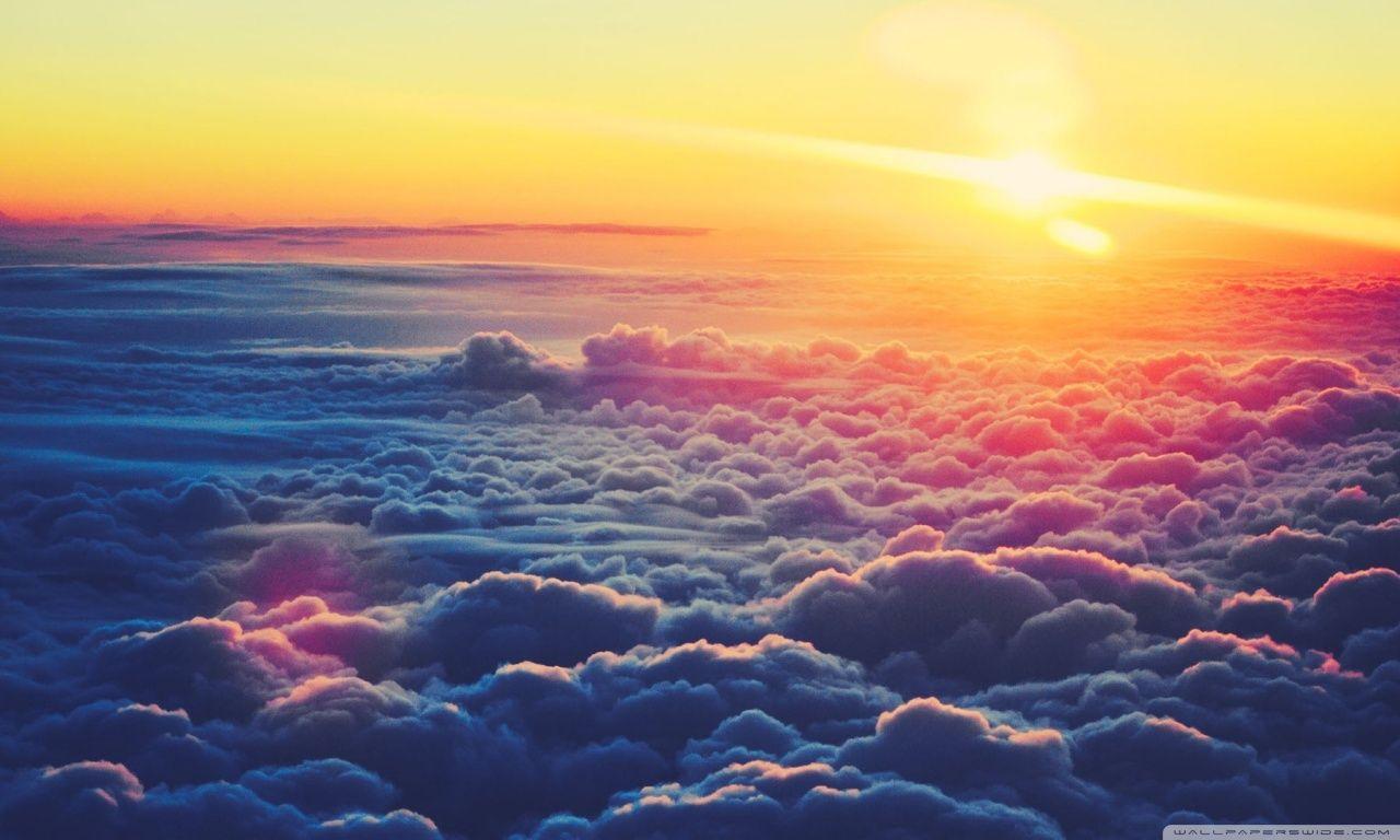 sunrise above the clouds hd desktop wallpaper : widescreen : high